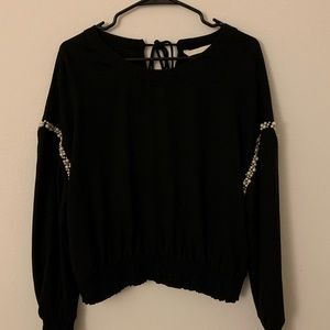 ZARA Black Batwing Blouse with Pearls